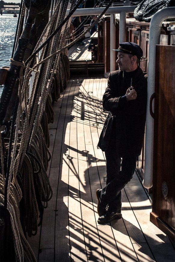 Kapitän Haddock auf dem Segelschiff
