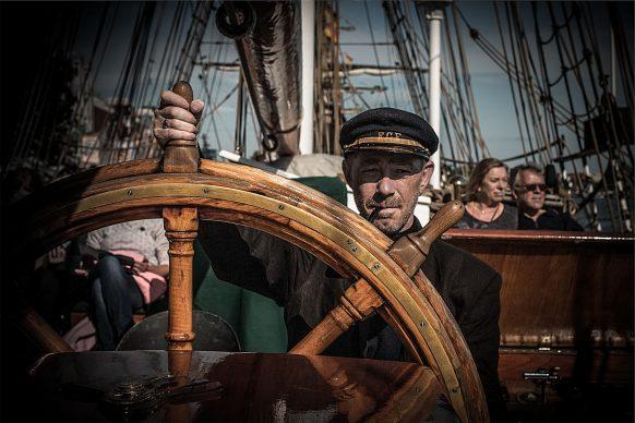 Frank als Kapitän Haddock hinter dem Steuer