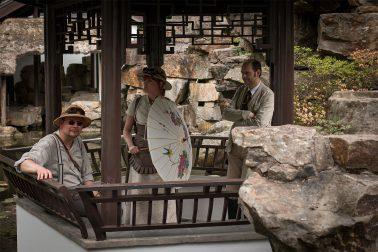 Botanischer Garten - Japanischer Garten - 3 Personen in Steampunkkleidung